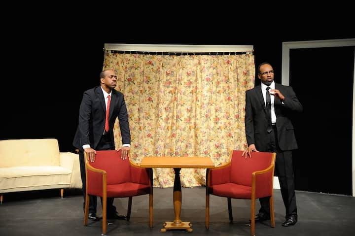 """Actors Damron Armstron and Marcus Denard  Jackson offer impassioned   portrayals of     Malcolm X and  Dr. King in """"The Meeting"""", which is running through February 15 at OSTC in Warwick,"""