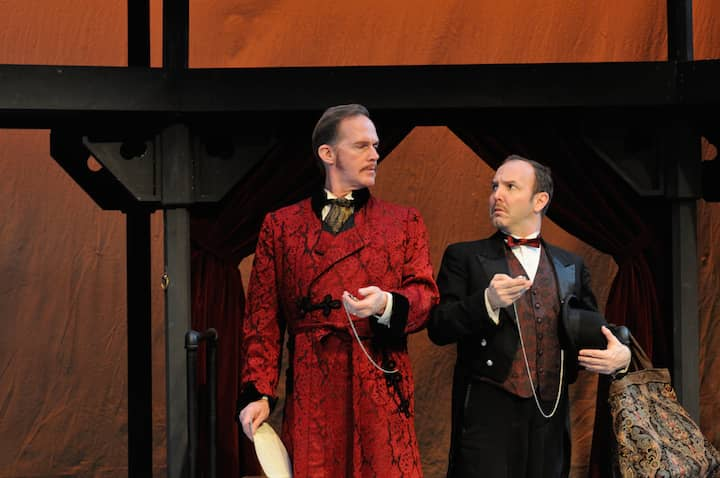 Russell Garrett as Phileas Fogg and Matt Jones as his servant, Passepartout, star in the ingenious and imaginative comedy, Around the World in 80 Days,