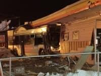 [CREDIT: Rob Borkowski] A RIPTA bus crashed into RI Paintball at 1290 Post Road Monday night at 7:10 p.m.