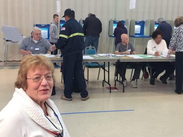 [CREDIT: Rob Borkowski] Pilgrim Senior Center Moderator Pat Zotos, during a lull in a busy voting day morning.