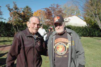[CREDIT: Rob Borkowski] From left, Vietnam Veterans Robert Baggesen and Joe Koole, at Warwick Veterans Memorial near Warwick Veterans Memorial Middle School Nov. 11, 2016.