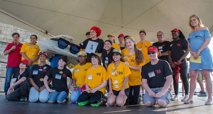 [CREDIT: Mary Carlos] Bristol Plymouth Technical Regional High School/Culinary Program, Taunton MA, accept their first place win for Red Chowder during the Great Chowder Cook-Off at Fort Adams, Newport. This year was the first year an award was given for Red Chowder at the event.
