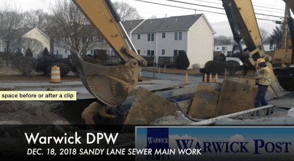 [CREDIT: Rob Borkowski] An excavator works on a trench along Sandy Lane Monday.
