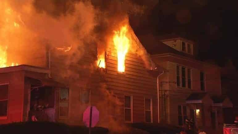 [CREDIT: Warwick Fire Department] Warwick Fire's C Platoon assisted West Warwick, responding with several other departments to a house fire on Curson Street Friday night.