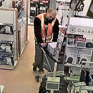 [RI Most Wanted website] A man later identified as Derek Leblanc is shown on surveillance cameras stealing items from the Kohl's store in Smithfield.