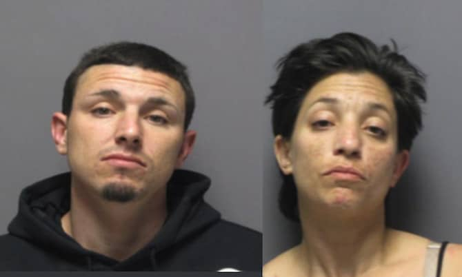 [CREDIT: CPD] Patricia and Matthew Chivers led Cranston Police on a multi-town chase before crashing in East Greenwich, where they were arrested Thursday morning, May 30, 2019.