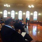 [CREDIT: Rob Borkowski] School Finance Director Anthony Ferrucci presents the School budget. Mayor Joseph Solomon, in front, looks on.
