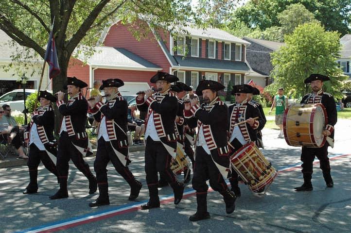 [CREDIT: Rob Borkowski] The Kentish Guard marching in the 2019 Gaspee Days Parade Saturday, June 8.