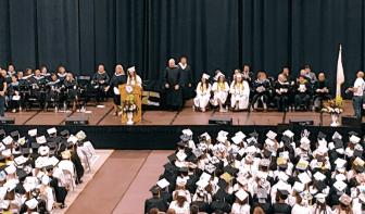 {CREDIT: Kim Wineman] The 297 graduating seniors of Pilgrim High School's Class of 2019 at the CCRI field house during graduation Wednesday.
