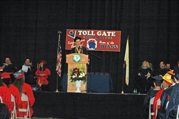 {CREDIT: Rob Borkowski] Toll Gate Class of 2019 Valedictorian Alexander Gavitt addresses his classmates during graduation at the CCRI field house June 6.